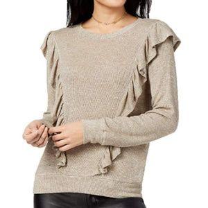 Lily Black Sweaters - Lily Black Juniors Ruffled Metallic Knit Sweater